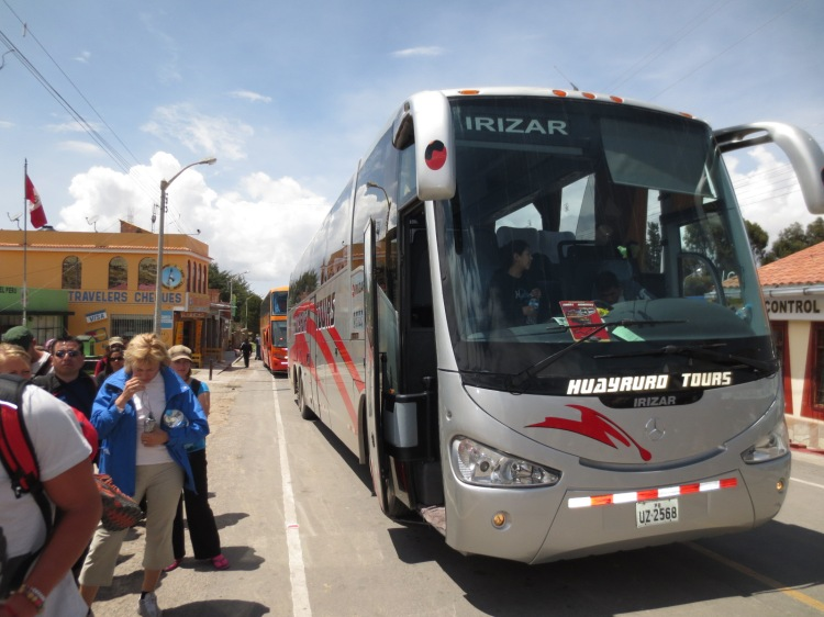 The bus at the Peru/ Bolivia border crossing