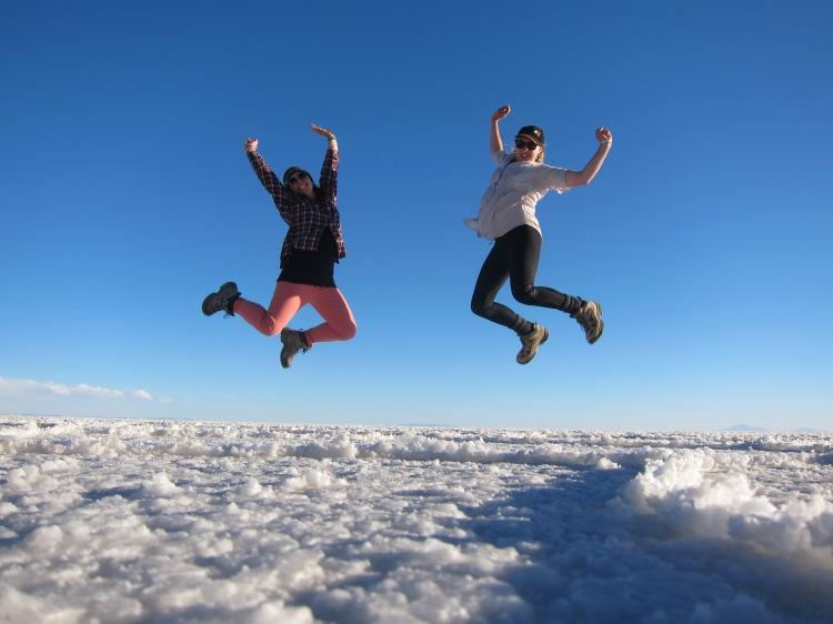 Jumping for joy in the Salt Flats of UYuni