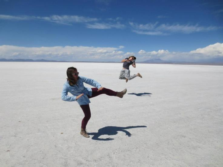 jess kicking it to me in the Salt Flats of UYuni, BOLIVIA