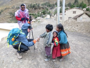 Sharing my snacks with these gorgeous Quechua children on my trek to Machu Picchu in Peru