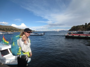 enjoying the view whilst our bus crosses lake titicaca