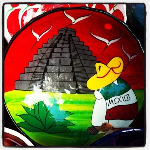 Love the colors and styles of #mexico art #chichenitza #souvenirs Mexican Plates