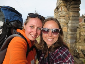 Smiling with my backpack on after hiking up the rocks of Isla Del Sol in Bolivia to our accomodation