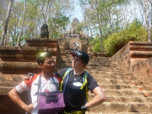 Having fun with my guide in Cambodia