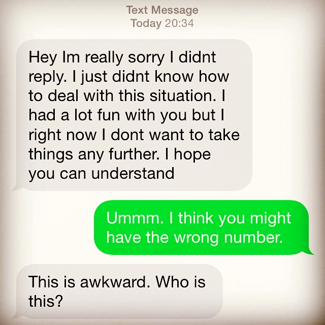 Dumped by text message on Saturday night (1/2)