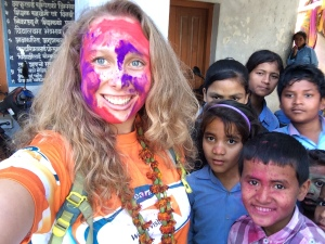 At a school with World Vision Sponsor Children yesterday