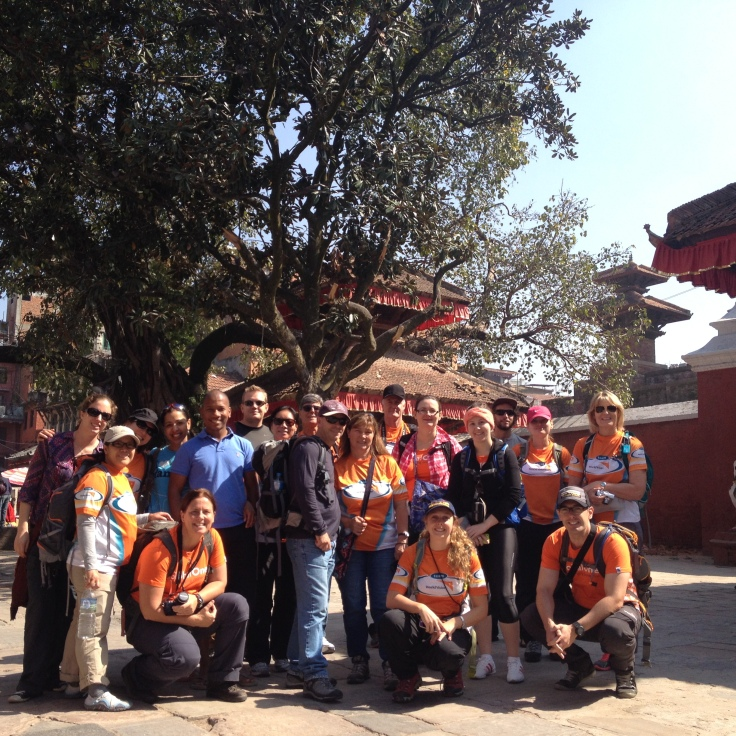 Team World Vision in March 2015 before our #Everestbasecamptrek2015. Standing in Durbar Square, Kathmandu.